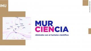 Logo de Murciencia con las doce paradas de la ruta por la ciudad de Murcia.